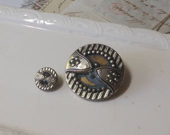 Large Tin or Aluminum Button Mother Daughter Victorian Pair