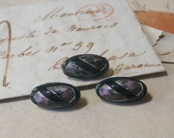 3 Lovely Black Glass Buttons 1800s Imitation Fabric Buttons 4 Way Box Shank