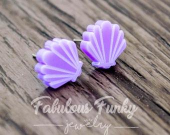 Shell Stud earrings-plastic