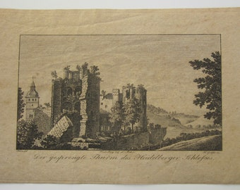 Early 19th Century Heidelberg Castle Engraving By L Meder - Engraved By H Grape - Free Shipping