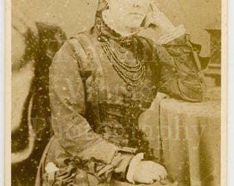 CDV Carte de Visite Photo Victorian Woman, Hair Up, Big Necklace Seated Portrait - C Wynne of Brompton England - Antique Photograph