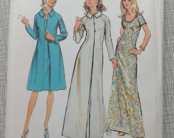 "Misses' Evening Dress and Lined Coat  Size 18 Bust 40""  Complete Uncut/FF Vintage 1970s Simplicity Sewing Pattern 9715"