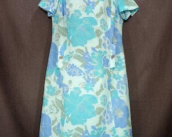60s New Vintage Betty Hartford MOD Floral Shift Dress. Blue Aqua Green Cotton Blend Linen Short Sleeve Dress Size M L