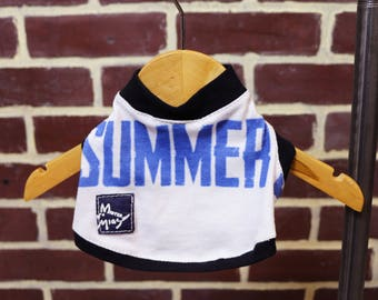Blue White Summer Quote Text Small Dog T-shirt Upcycled Sleeveless Trim Girl or Boy Dog Ready to Ship