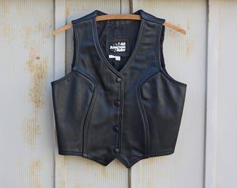 Vintage All American Rider Black Leather Vest - 80s Motorcycle Vest - 1980s Biker Babe Vest  - 1970s Punk Vest - Grunge Vest - 70s Moto Vest