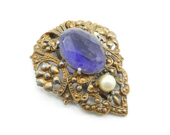 Vintage Dress Clip, Purple Lucite Stone, Faux Pearl, Wear, Repurpose