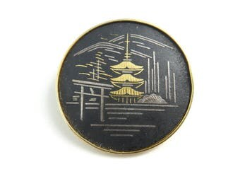 Vintage Amita Japan Brooch, Pagoda, Signed, Gold Tone, STZ48