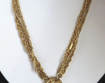 Vintage Kramer Pendant Necklace, Gold Tone Multi Strand Necklace, Chain Link