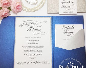 Royal Blue and Silver Wedding Invitations, Royal Blue Silver Wedding, Pocketfold Wedding Invitation, Invitation Suite, Winter Wedding, #8785