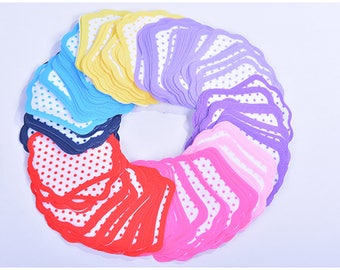 200 pieces ribbon of Polka Dots pattern Untied Flat Not folded Unprocessed 8 mixed colors for HairBows supply Craft supply Gift wrapping