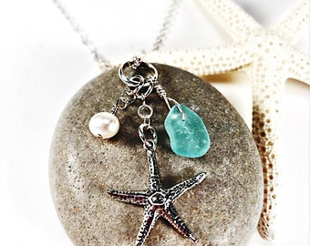 Sea Glass Necklace|Seaglass Necklace|Sea Glass Jewelry|Seaglass Jewelry|Starfish Necklace|Aqua Sea Glass|Sterling Necklace|Gift