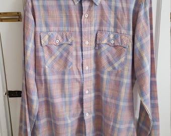 Vintage 1970's LEVIS Western Style Shirt Size Large Tall Plaid Button Up