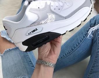 Women's Nike Air Max 90 White/Grey/Black Made with SWAROVSKI® Crystals