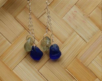 Cobalt blue seaglass and bonfire seaglass earrings on sterling silver