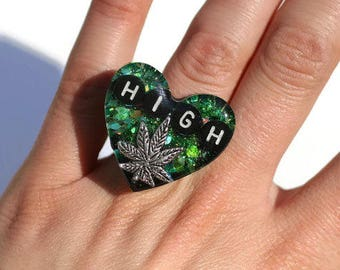 Marijuana Jewelry Legalize Ring Holographic Green Ganja Statement Ring Pot Leaf Durable Ring