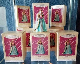 12 Hallmark BARBIE Series Ornaments RAPUNZEL Spring 1997 One Dozen Collector Keepsake Ornament 1st in Series Princess Party Dolls NIB Favors