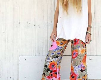 FLORAL PRINT BELL bottom boho dance beach resort yoga festival burning man gypsy fashion flare bottoms or leggings