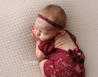 Newborn Photo Prop, Newborn Lace Romper, Wine Red Romper, Baby Props, Baby Girl Outfit, Photography Prop, Baby Romper, Newborn Outfit, 028