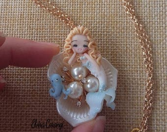 Mermaid and orchid  necklace