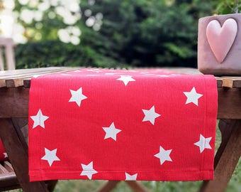 Red White STARS Table Runner, Premium Cotton table runner, Water Resistant Stain Resistant Runner, Table Cloth, BRIGHT RED white stars table