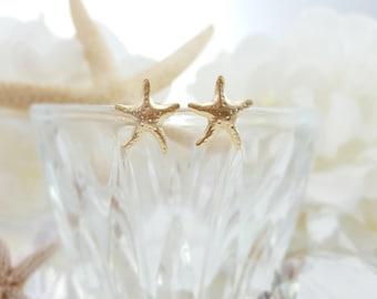 Gold Starfish Earrings, Starfish Studs, Beach Bridesmaid Ask Gift, Beach Wedding Jewelry, Star Fish Beach Bridal Jewelry, Beachcomber, E5522
