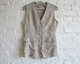 Creamy Beige Linen Vest Natural Linen Womens Vest Folk Style Waistcoat Large Size