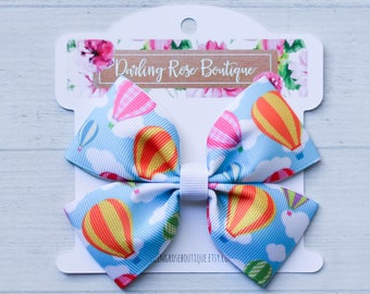"""Hot air balloon hair bow - 4"""" hair bow or pigtail set of 2 teal blue pink and white  hair bow hairbow or headband"""