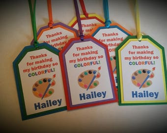 Art Party Favor Tags - Painting Party Favor Tags - Art Birthday Party - Painting Birthday Party - Art - Painting - Set of 12