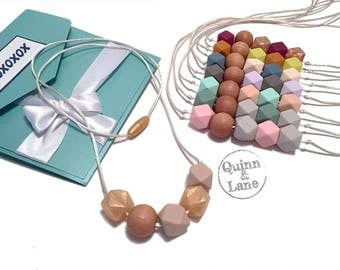 Silicone Teething Necklace CHOOSE COLOR - Bite Beads Nursing Necklace Jewelry - Teether Chewing Beads - Chew Jewelry Beads - Hugs & Kisses