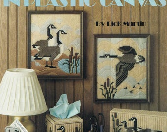 PLASTIC CANVAS PATTERN - Canada Geese In Plastic Canvas - Goose Tissue Box - Goose Coasters - Flying Goose Wallhanging - Leisure Arts 183