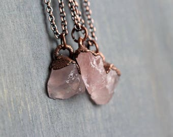 Rose Quartz Pendant Electroformed Copper Necklace Oxidized Copper Modern Minimalist Jewelry Pink Gemstone