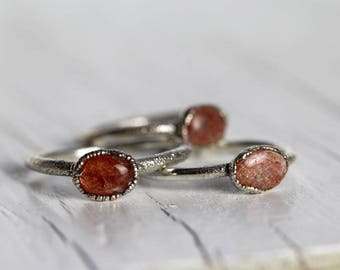 Sunstone Ring Promise Ring Sparkly Stone Silver Ring Electroformed Ring Peach Ring Simple Ring Fine Silver Ring