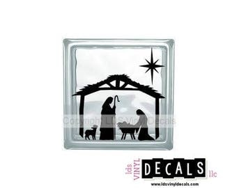 Manger with Jesus, Mary, shepherd and star - Vinyl Lettering for Glass Blocks - Christmas Craft Decals
