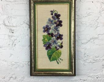 Purple Floral Needlepoint