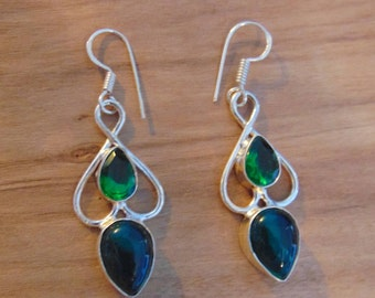 Vintage Tourmaline and Sterling Silver Earrings