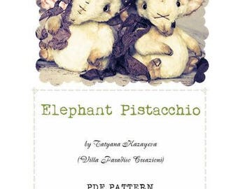 PDF Teddy Bear PATTERN with INSTRUCTIONS Elephant Pistacchio 11 cm  by Tatyana Kazayeva