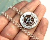Sterling Silver Coordinates Washer ~ True North Compass Necklace ~ Personalized Jewelry ~ Custom Latitude Longitude ~ Wanderlust Gypsy Soul