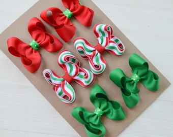 Christmas hair clips, Christmas hairbows, set of Christmas bows, Hair clippies, Christmas clips, pigtail bows, baby bows