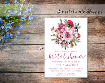 Roses Bridal Shower Invitation, Floral Wedding Shower Invitation, Winter Roses Bridal Shower, Printable Roses Bridal Invitation, Fall Winter