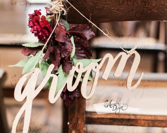 Groom Chair Decor | Bride Groom Hanging Calligraphy Chair Sign for Wedding | Cardstock or Wood Trending Chic Chair Decoration
