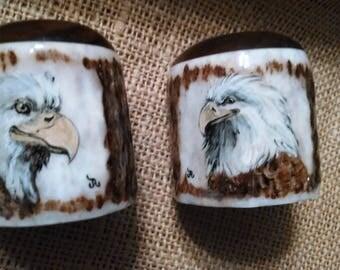 Salt and Pepper Set with Bald Eagle paintings, unique, original, Elk Antler and black walnut hardwood, natural color