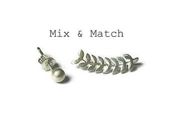 Mismatch earrings, mix and match studs, mix earrings. earring set, mix ear climber, stud and ear climber, combo earrings, silver 925