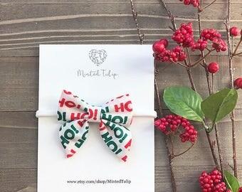 CLEARANCE Christmas Santa Ho Ho Ho Small or Large Sailer Bow on Nylon Headband or Hair Clip Baby Toddler Kids