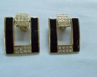 Gold Tone Black and Rhinestone Clip Earrings.  (668)