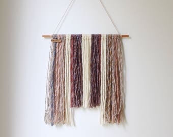Yarn wall hanging (modern tapestry) - white, cream, gray, brown