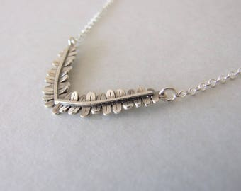 Silver Fern Necklace -  rustic necklace , fern necklace , silver necklace , woodland necklace , christmas gift , for her