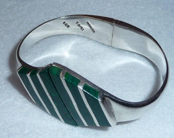 Taxco (Mexico). Bracelet. Sterling Silver and Malachite. Vintage.