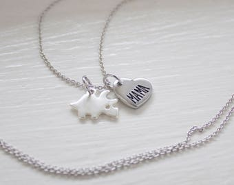 Mama Triceratops Jewelry - Silver Dinosaur Necklace - Gift for Mom - Dinosaur Mother - Mom and Baby Dino - Gift for Mother's Day Necklace
