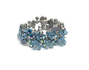 Signed Weiss Bracelet, Vintage 40s 50s Bracelet, Aurora Borealis  and Blue Rhinestone Bracelet, Costume Jewelry