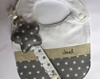 Baby set-Personalized baby gift-Pacifier and bib clip-customized bib-baby shower-bib and pacifier